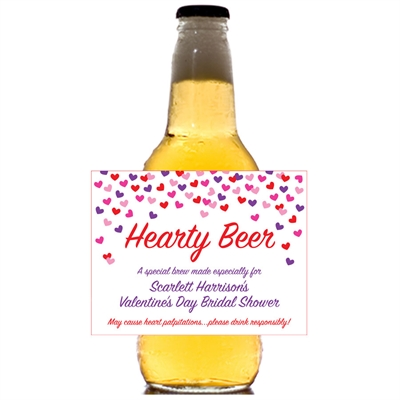 Heart Confetti Beer Bottle Label