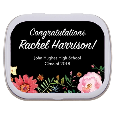 Watercolor Flowers Graduation Mint Tin