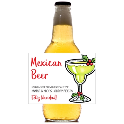 Christmas Fiesta Theme Beer Bottle Label