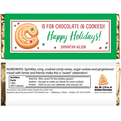 Christmas Cookie Exchange Party Candy Bar Wrapper
