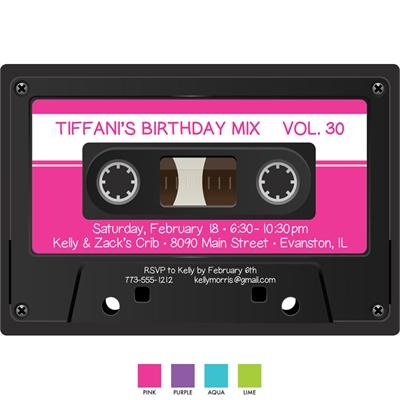 Mix Tape Theme Invitation