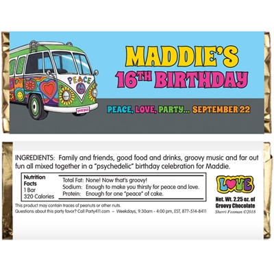 Hippie Bus Theme Candy Bar Wrapper