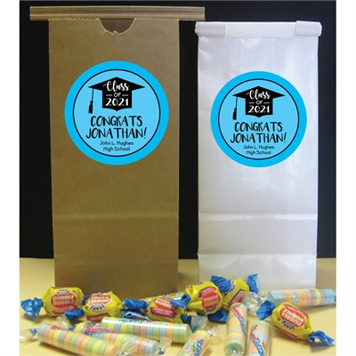 Graduation Cap Blue Theme Party Favor Bag