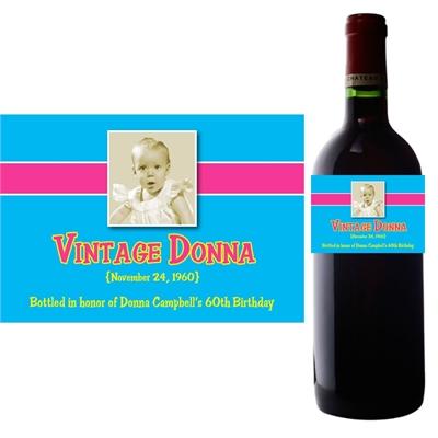 Birthday Babe Theme Photo Wine Bottle Label