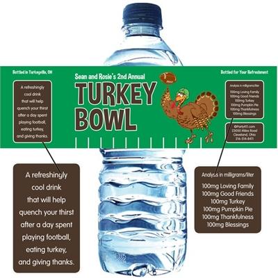 Thanksgiving Turkeybowl Water Bottle Label