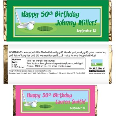Birthday Golf Theme Candy Bar Wrapper