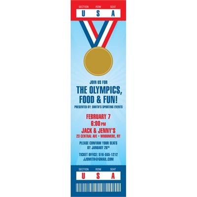 Olympics Party Ticket Invitation