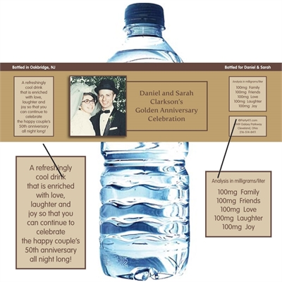 50th Anniversary Theme Bottle Label, Water