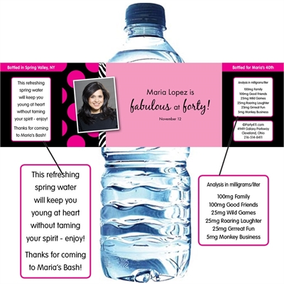 A Fabulous Party Theme Water Bottle Label