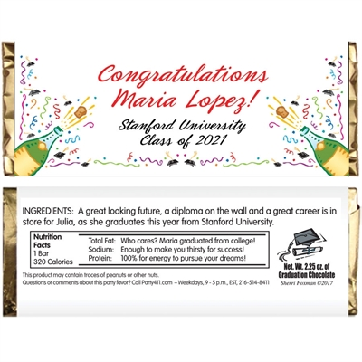 Graduation Champagne Theme Candy Bar Wrapper