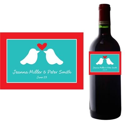 A Lovebirds Wine Champagne Bottle Label