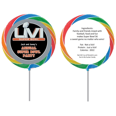 2020 Super Bowl 54 Theme Custom Lollipop