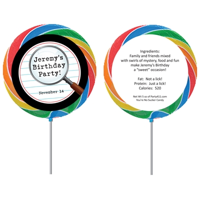 Mystery Theme Party Custom Lollipop