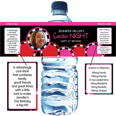 Casino Poker Chips For Her Photo Water Bottle Label