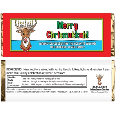 Chrismukkah Theme Candy Bar Wrapper
