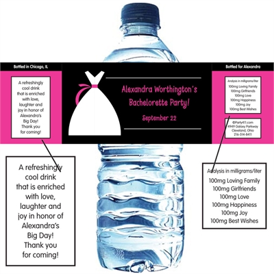 Bridal Dress Water Bottle Label
