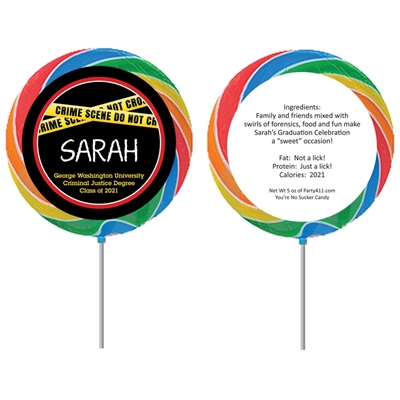 Criminal Justice Degree Graduation Theme Lollipop