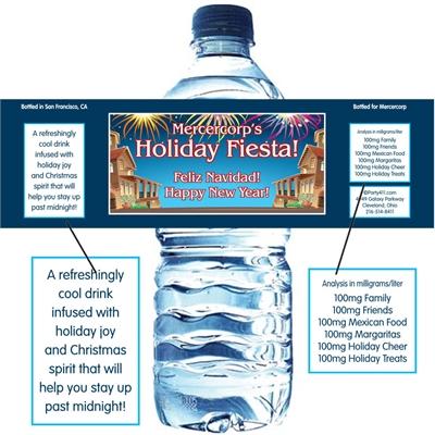 New Years Fiesta Water Bottle Label