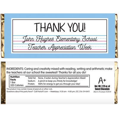 Teacher Appreciation Theme Candy Bar Wrapper