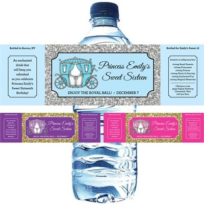 Fairy Tale Princess Theme Water Bottle Label