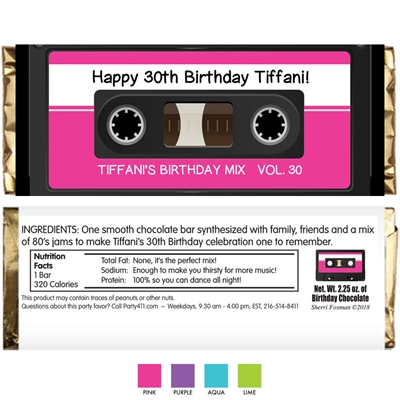 Mix Tape Theme Candy Bar Wrapper