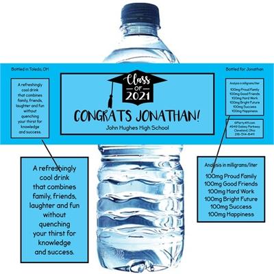 Graduation Cap Blue Theme Water Bottle Label