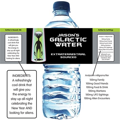 Space Aliens Theme Water Bottle Label