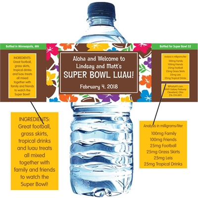 Super Bowl Luau Theme Water Bottle Label
