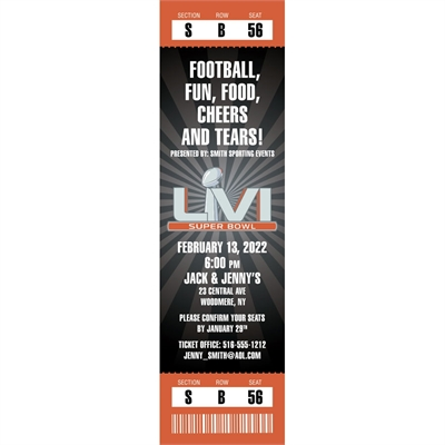 2016 Super Bowl 50 Logo Ticket Invitation