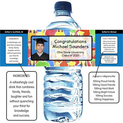 Graduation Crowd Theme Water Bottle Label