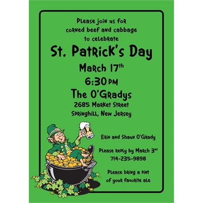 st patricks day leprechaun party invitation