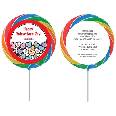 Valentine's Day Candy Hearts Theme Lollipop