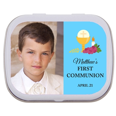 A First Communion Mint Tin in Blue