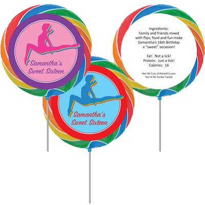 Colorful Gymnastics Theme Custom Lollipop