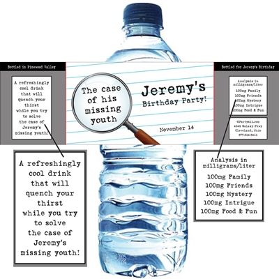 Mystery Theme Party Water Bottle Label