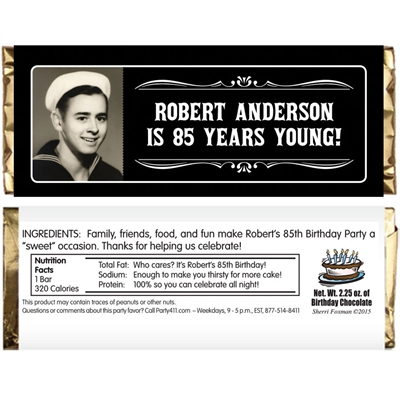 A Classic Birthday Milestone Photo Theme Candy Bar Wrapper