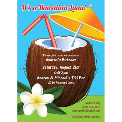 Luau Tropical Drink Party Invitation