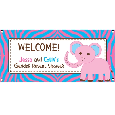 Jungle Theme Gender Reveal Party Banner