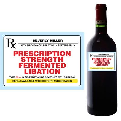 Prescription to Party Theme Wine Bottle Label