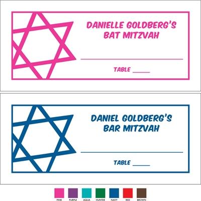 Simple Star of David Seating Card
