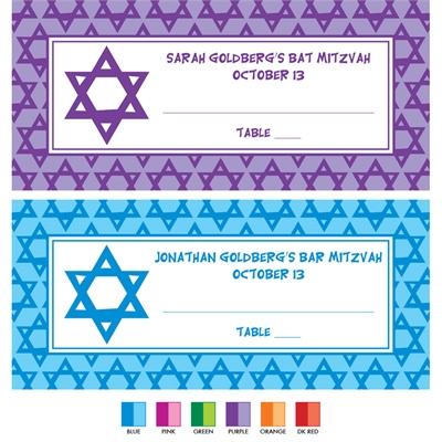 Mitzvah Stars Theme Seating Card