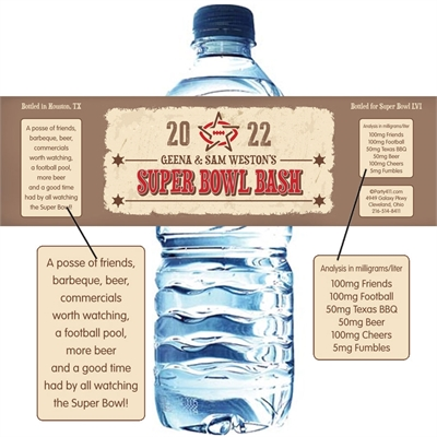 Western Theme Super Bowl Water Bottle Label