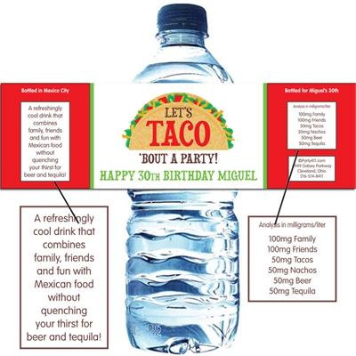 Taco Party Fiesta Theme Water Bottle Label