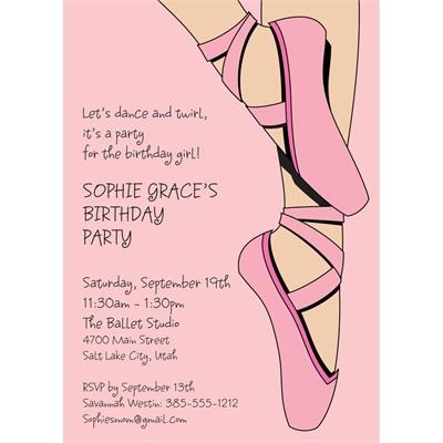 Prima Ballerina Ballet Theme Invitation