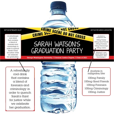 Criminal Justice Degree Graduation Water Bottle Label