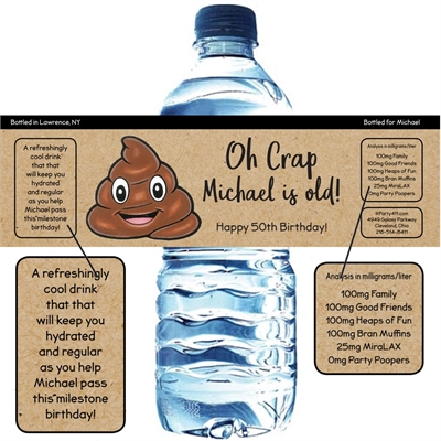 Party Pooper Theme Birthday Water Bottle Label
