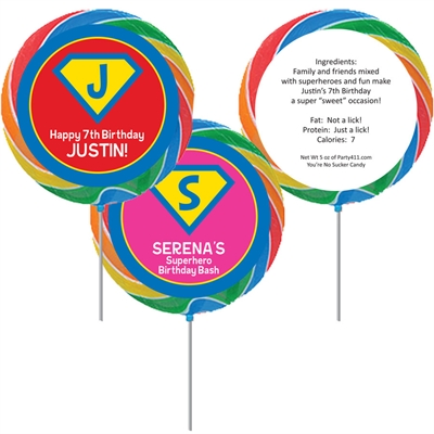 Superhero Party Theme Lollipop