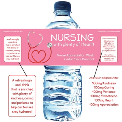 Nursing With Heart Appreciation Water Bottle Label