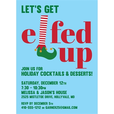 Elfed Up Christmas Party Invitation