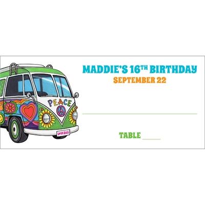 Hippie Bus Theme Seating Card